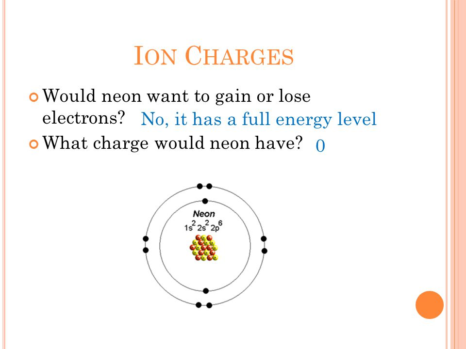 I ON C HARGES Would neon want to gain or lose electrons.