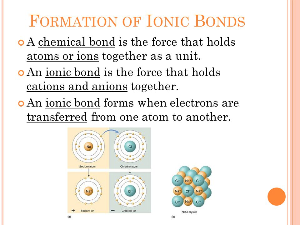 F ORMATION OF I ONIC B ONDS A chemical bond is the force that holds atoms or ions together as a unit.