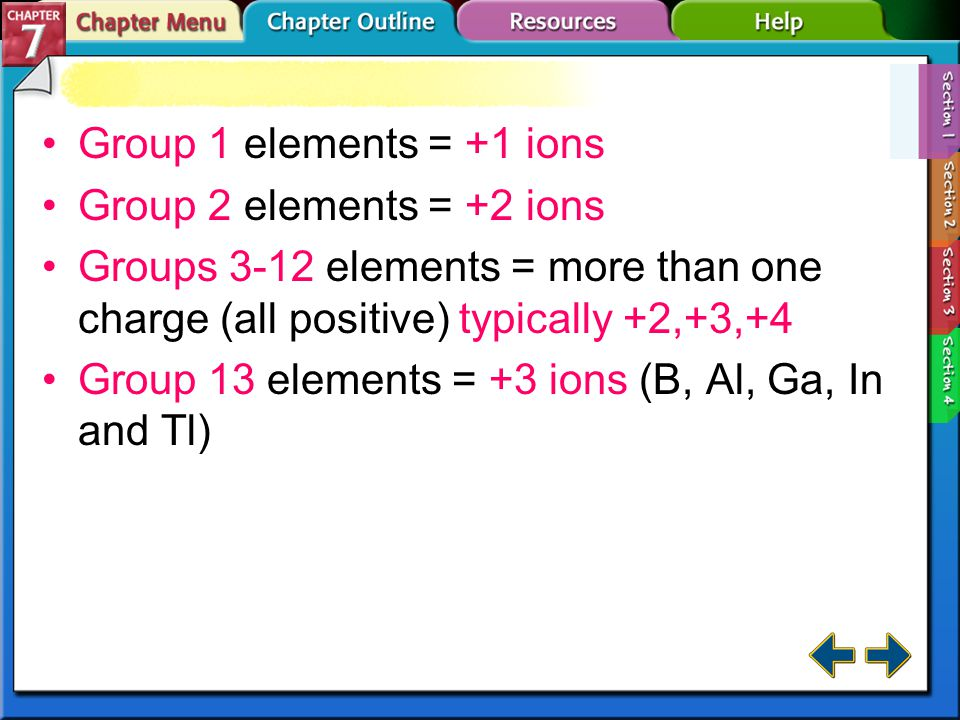 Section 7-1 Negative Ion Formation (cont.) Nonmetal ions gain the number of electrons required to fill an octet.