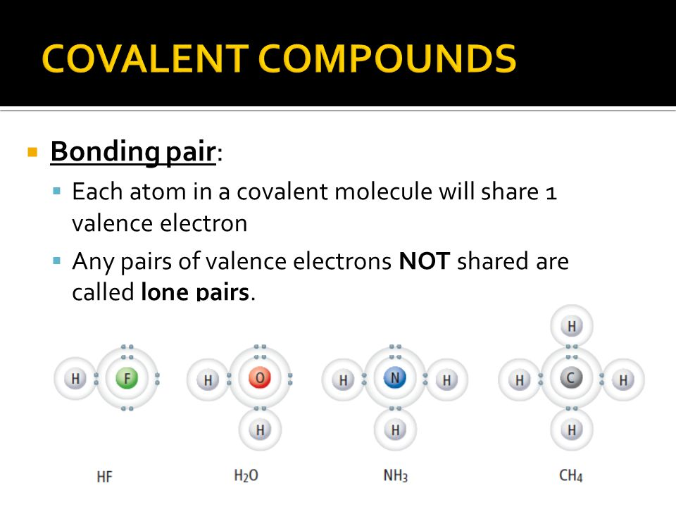  Bonding pair:  Each atom in a covalent molecule will share 1 valence electron  Any pairs of valence electrons NOT shared are called lone pairs.