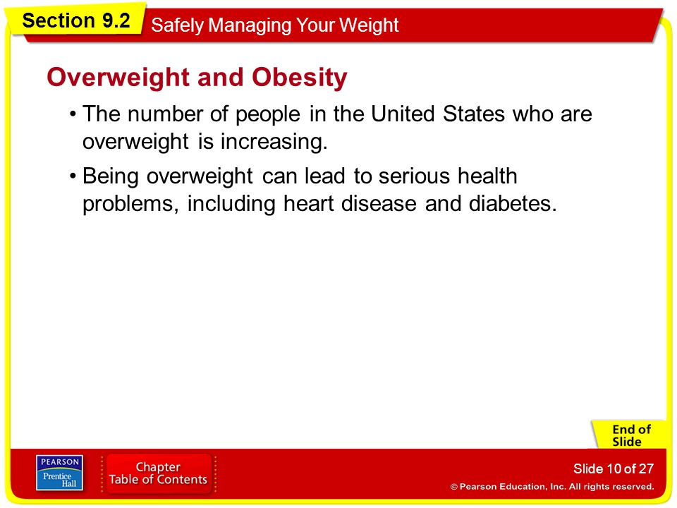 Section 9.2 Safely Managing Your Weight Slide 10 of 27 The number of people in the United States who are overweight is increasing.