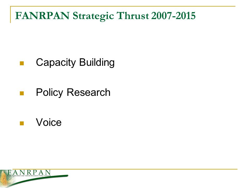 FANRPAN Strategic Thrust Capacity Building Policy Research Voice