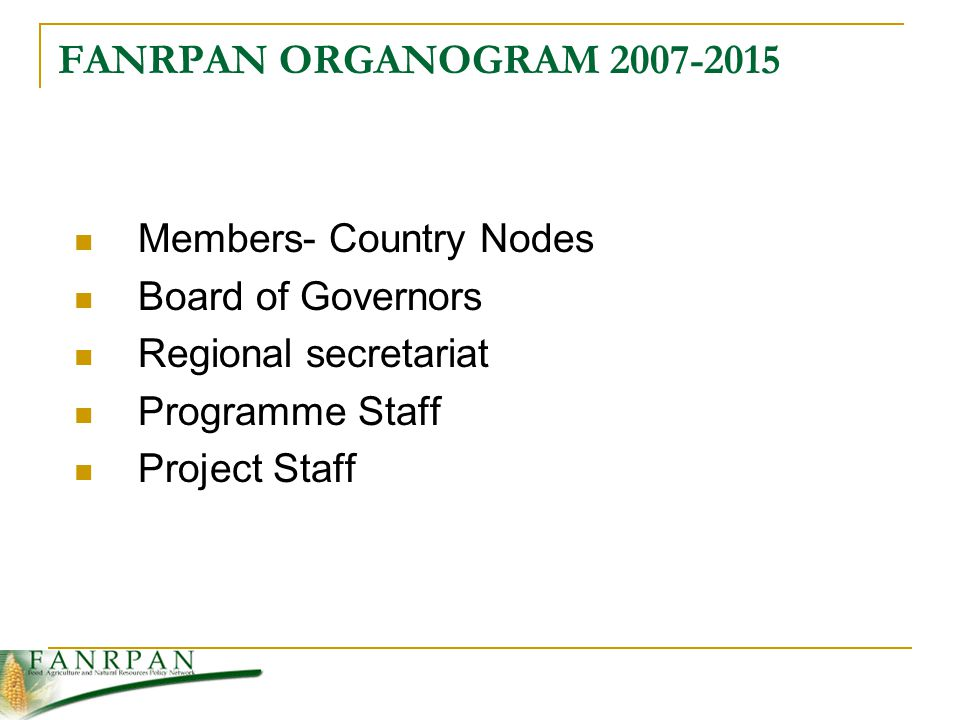FANRPAN ORGANOGRAM Members- Country Nodes Board of Governors Regional secretariat Programme Staff Project Staff