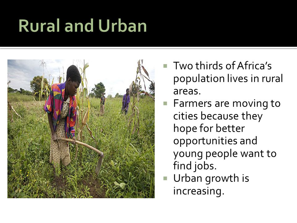  Two thirds of Africa's population lives in rural areas.