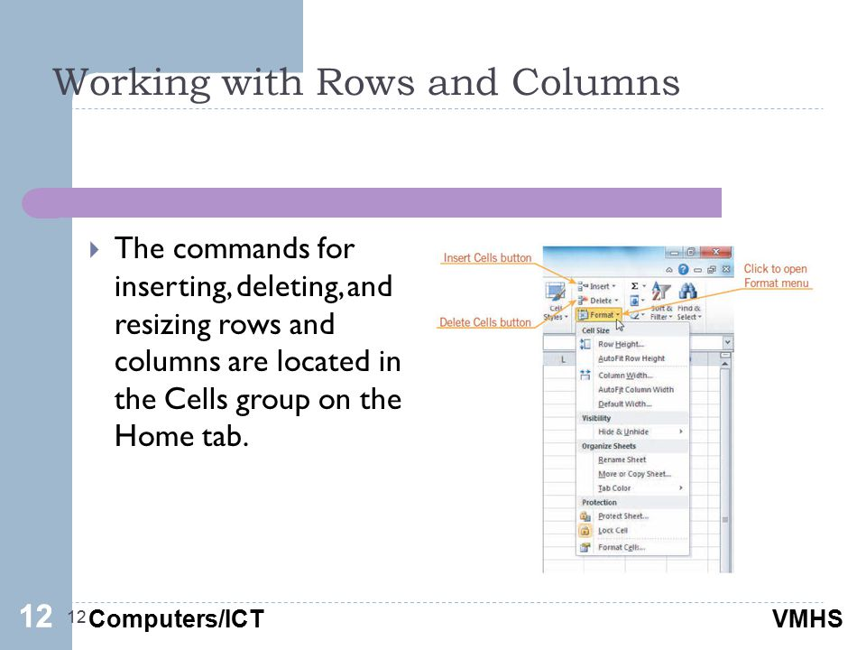 Computers/ICTVMHS Working with Rows and Columns 12  The commands for inserting, deleting, and resizing rows and columns are located in the Cells group on the Home tab.