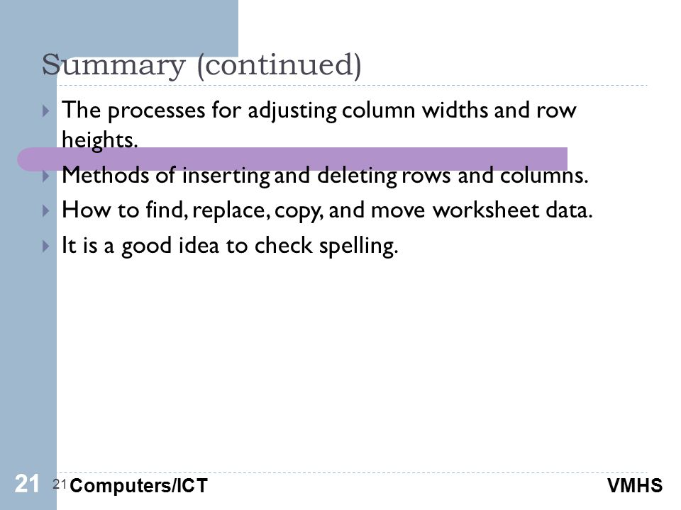 Computers/ICTVMHS Summary (continued) 21  The processes for adjusting column widths and row heights.