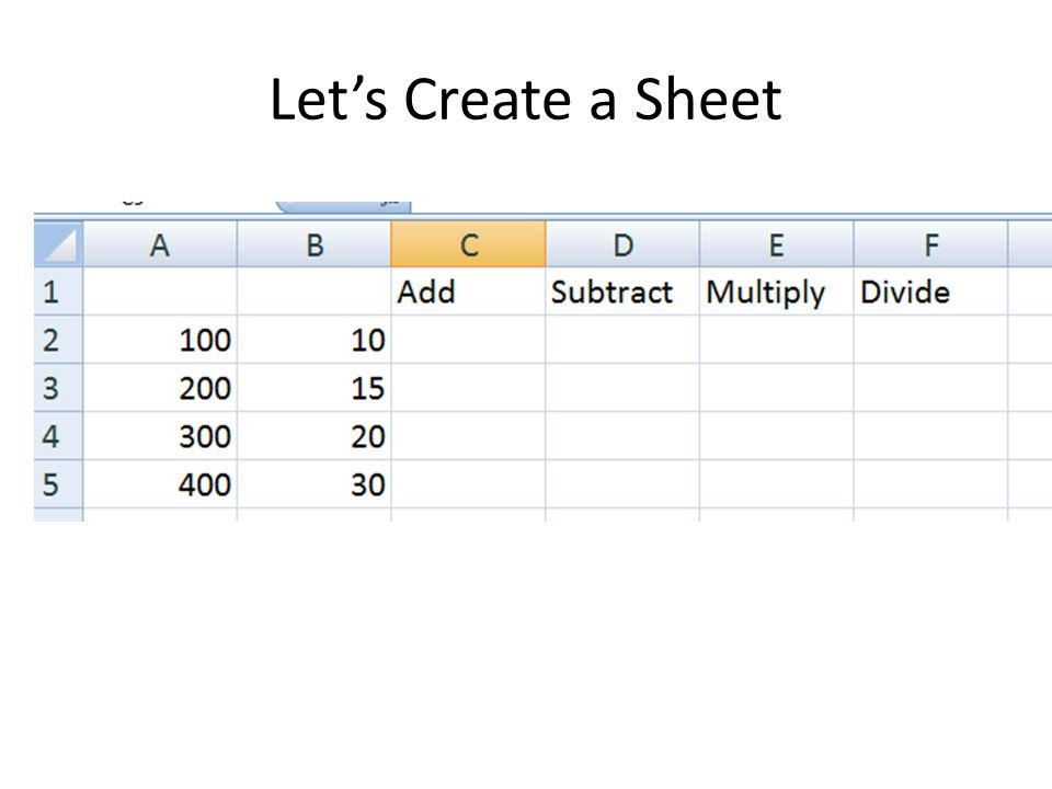 Let's Create a Sheet