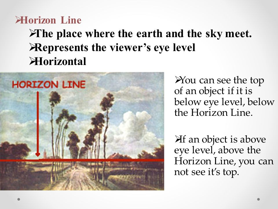  You can see the top of an object if it is below eye level, below the Horizon Line.