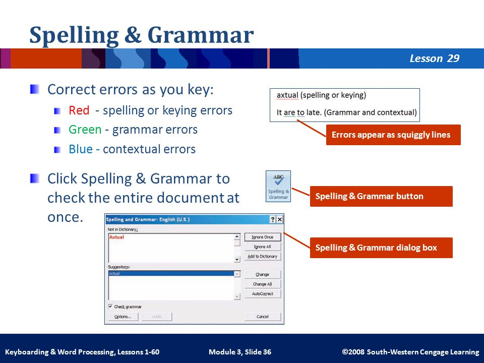 Lesson Module 3, Slide 36 ©2008 South-Western Cengage LearningKeyboarding & Word Processing, Lessons 1-60 Spelling & Grammar Correct errors as you key: Red - spelling or keying errors Green - grammar errors Blue - contextual errors Click Spelling & Grammar to check the entire document at once.
