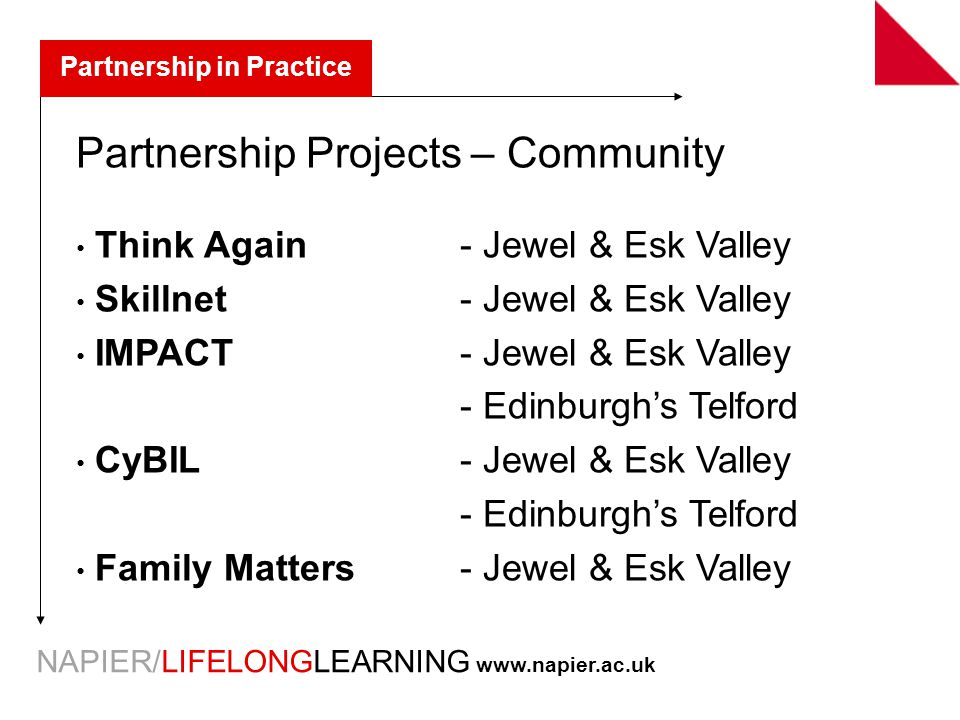 NAPIER/LIFELONGLEARNING   Partnership Projects – Community Think Again - Jewel & Esk Valley Skillnet- Jewel & Esk Valley IMPACT- Jewel & Esk Valley - Edinburgh's Telford CyBIL- Jewel & Esk Valley - Edinburgh's Telford Family Matters - Jewel & Esk Valley Partnership in Practice