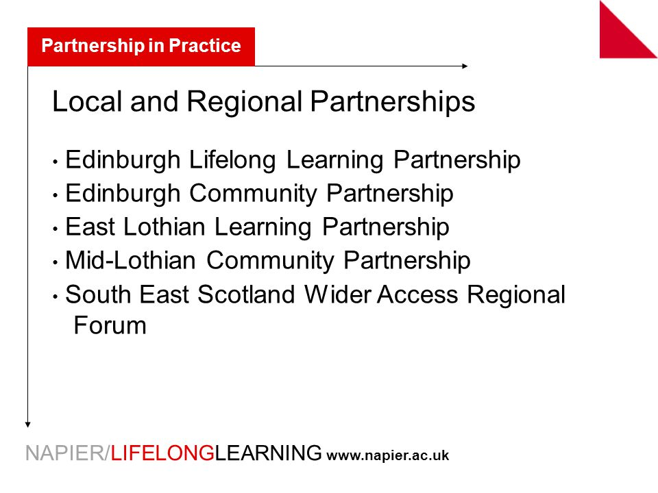 NAPIER/LIFELONGLEARNING   Partnership in Practice Local and Regional Partnerships Edinburgh Lifelong Learning Partnership Edinburgh Community Partnership East Lothian Learning Partnership Mid-Lothian Community Partnership South East Scotland Wider Access Regional Forum
