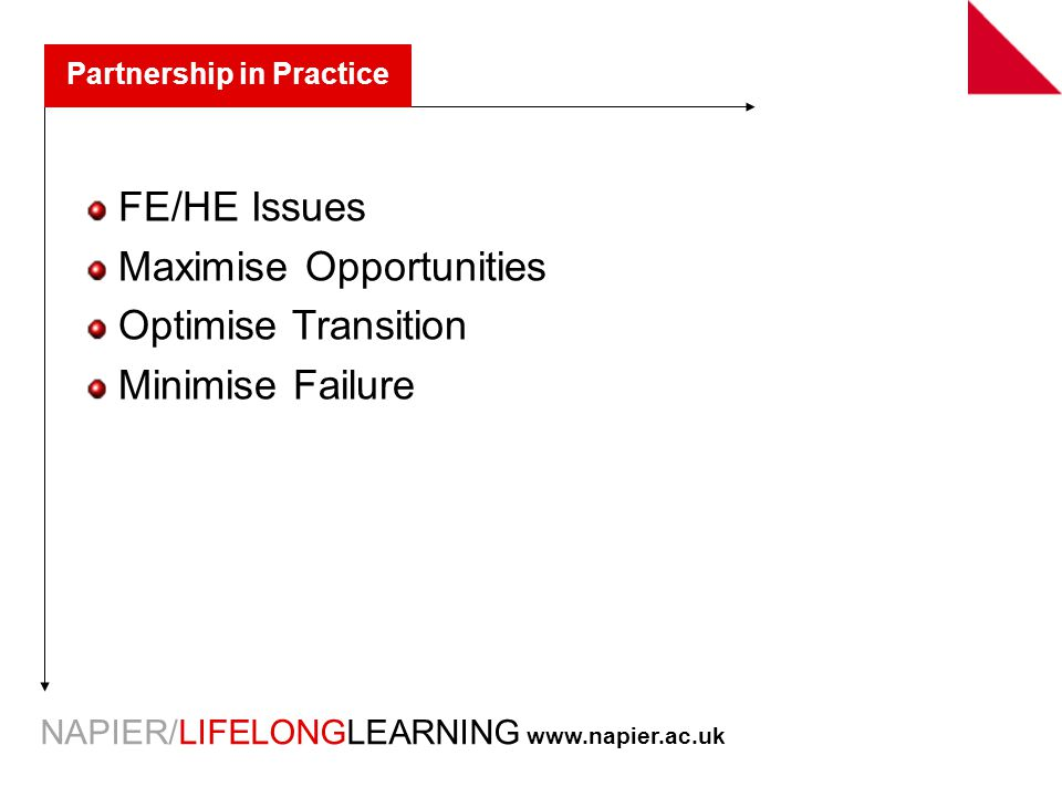 NAPIER/LIFELONGLEARNING   Partnership in Practice FE/HE Issues Maximise Opportunities Optimise Transition Minimise Failure