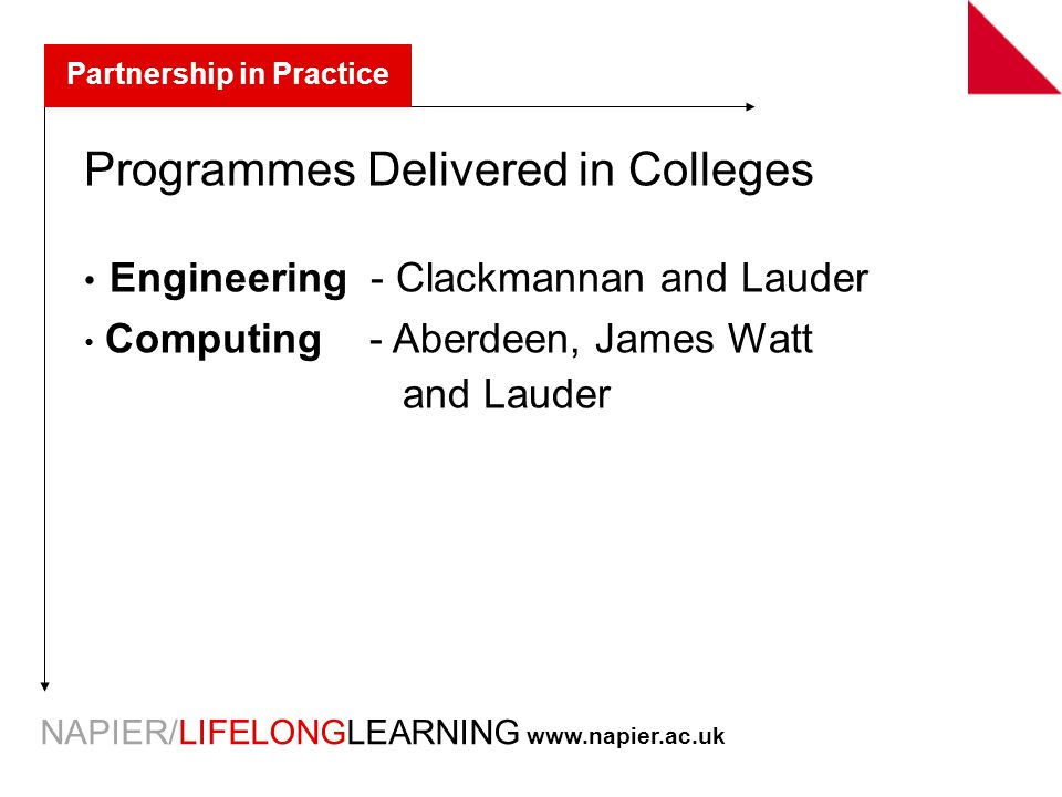 NAPIER/LIFELONGLEARNING   Partnership in Practice Programmes Delivered in Colleges Engineering - Clackmannan and Lauder Computing - Aberdeen, James Watt and Lauder