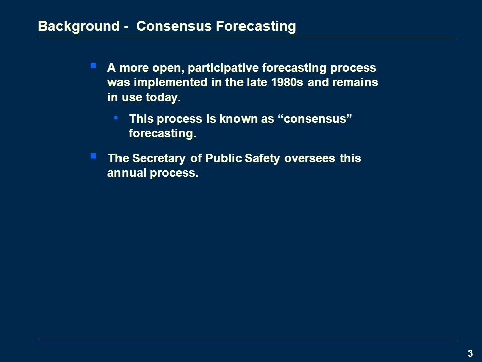 3 Background - Consensus Forecasting  A more open, participative forecasting process was implemented in the late 1980s and remains in use today.