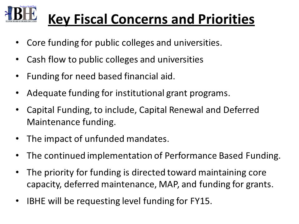Core funding for public colleges and universities.