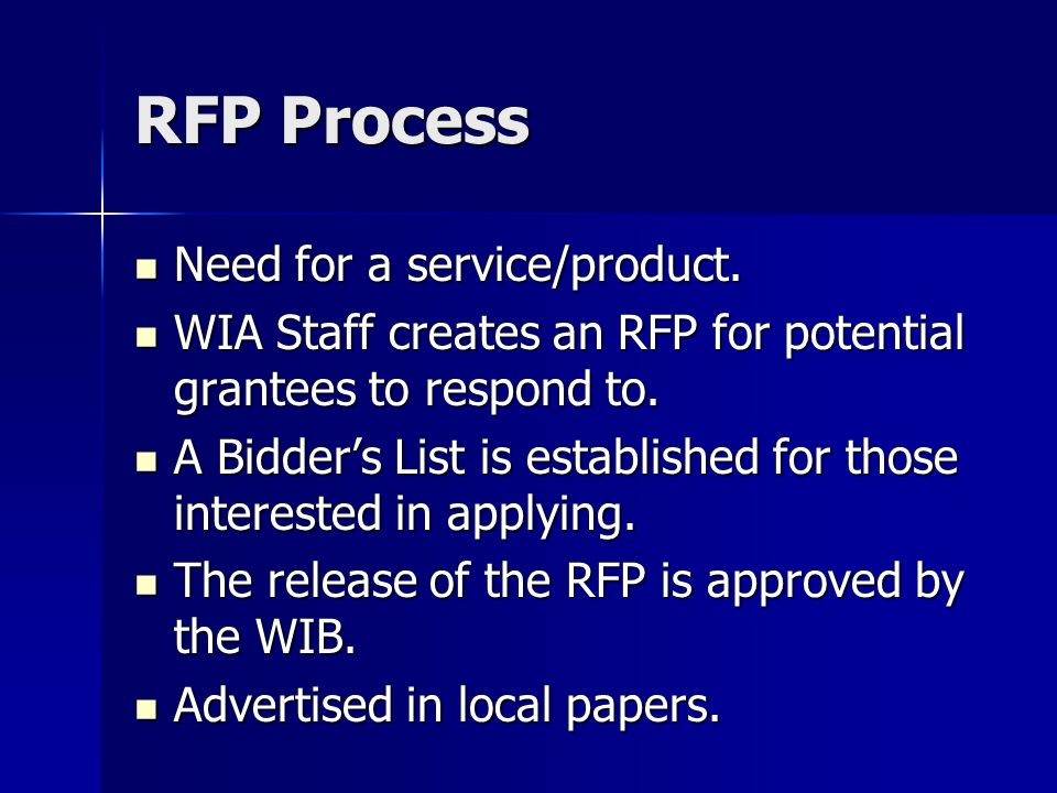 RFP Process Need for a service/product. Need for a service/product.