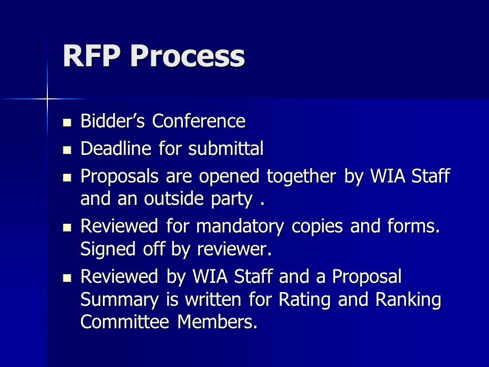 RFP Process Bidder's Conference Bidder's Conference Deadline for submittal Deadline for submittal Proposals are opened together by WIA Staff and an outside party.