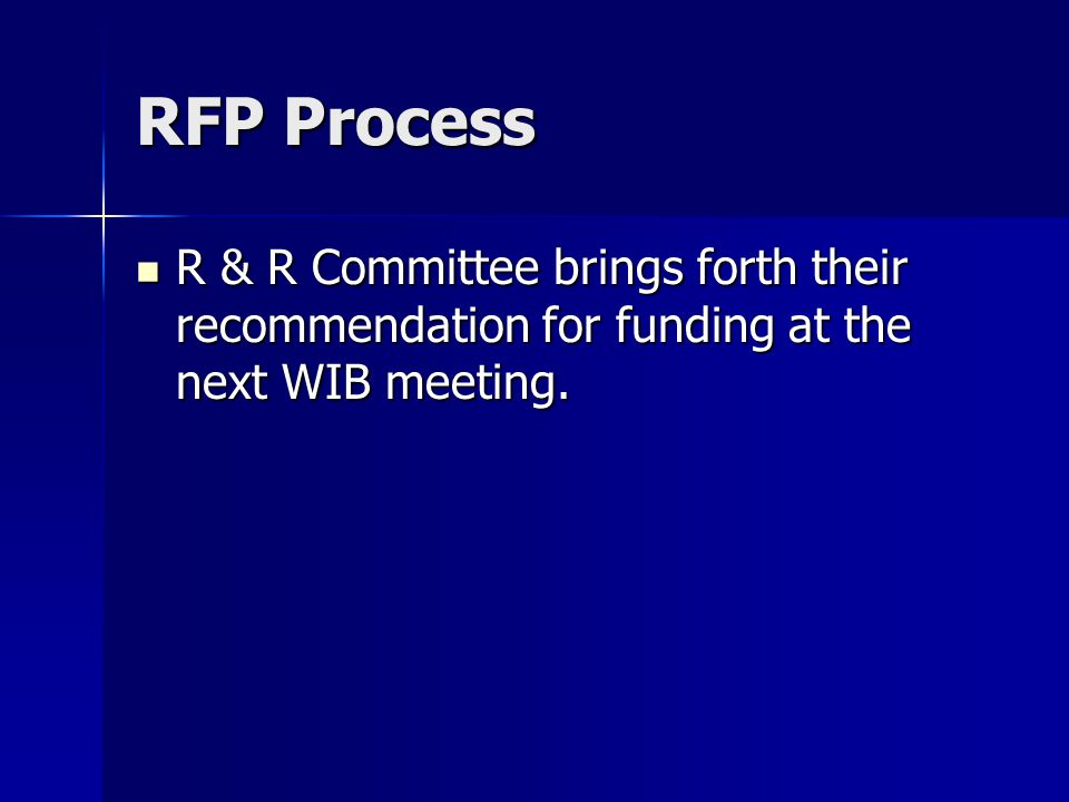 RFP Process R & R Committee brings forth their recommendation for funding at the next WIB meeting.