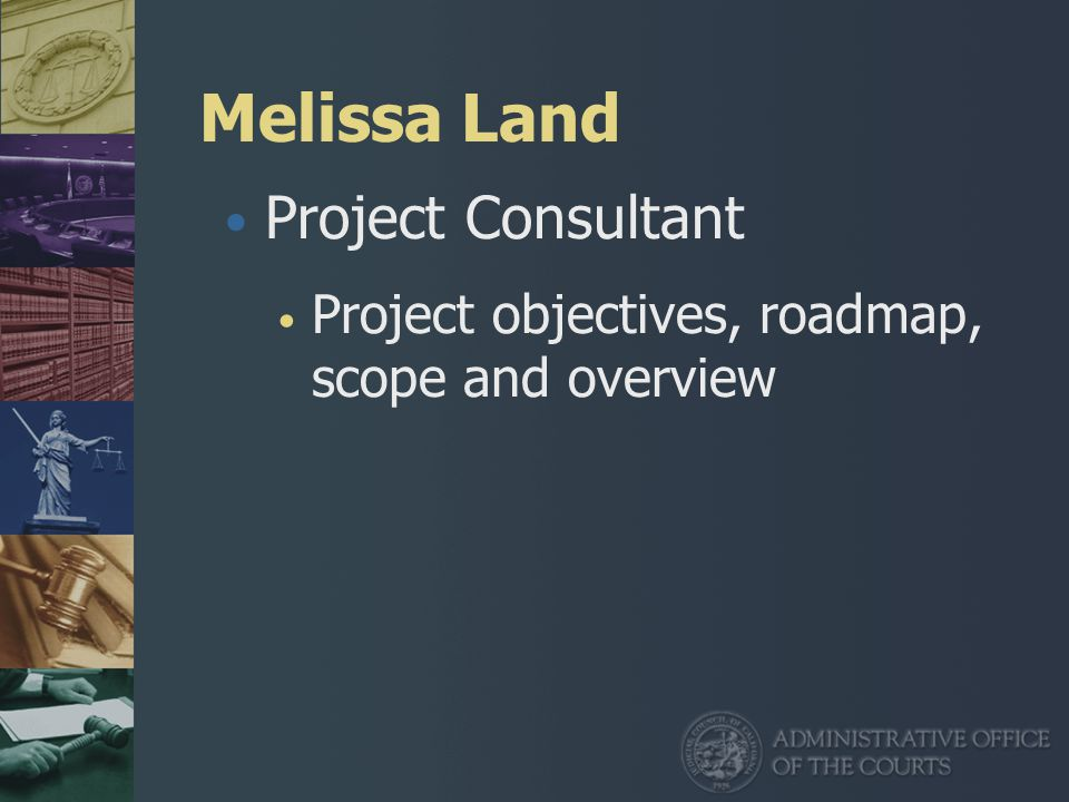 Melissa Land Project Consultant Project objectives, roadmap, scope and overview