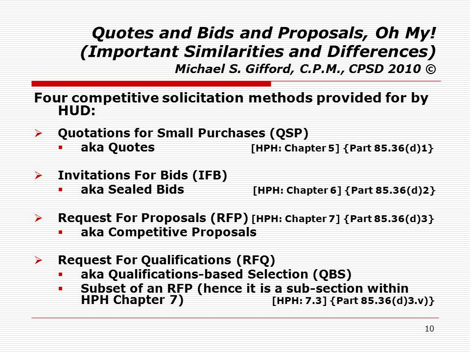 1 Quotes And Bids And Proposals Oh My Important Similarities And