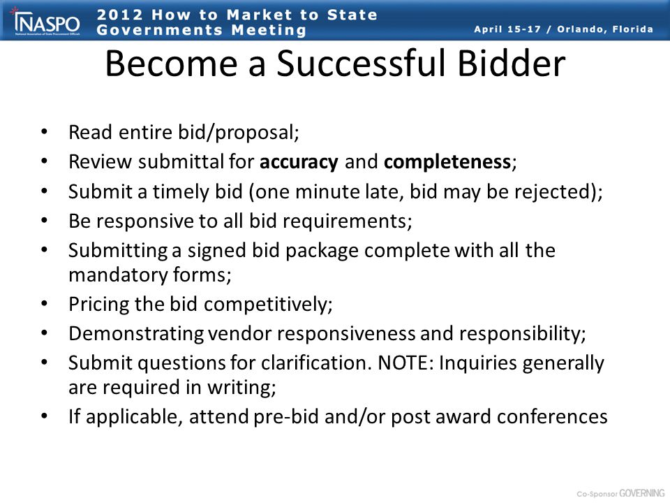 become a successful bidder read entire bidproposal review submittal for accuracy and completeness