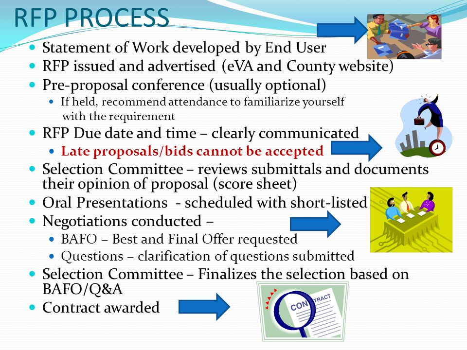 RFP PROCESS Statement of Work developed by End User RFP issued and advertised (eVA and County website) Pre-proposal conference (usually optional) If held, recommend attendance to familiarize yourself with the requirement RFP Due date and time – clearly communicated Late proposals/bids cannot be accepted Selection Committee – reviews submittals and documents their opinion of proposal (score sheet) Oral Presentations - scheduled with short-listed firms Negotiations conducted – BAFO – Best and Final Offer requested Questions – clarification of questions submitted Selection Committee – Finalizes the selection based on BAFO/Q&A Contract awarded