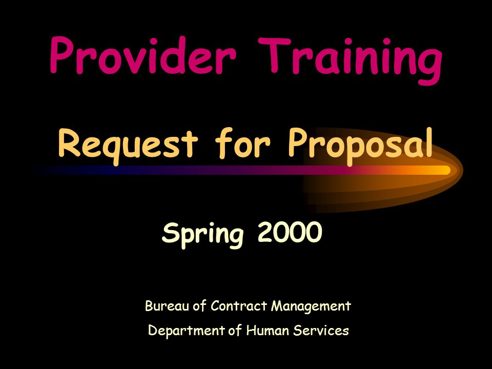 Provider Training Request for Proposal Spring 2000 Bureau of Contract Management Department of Human Services