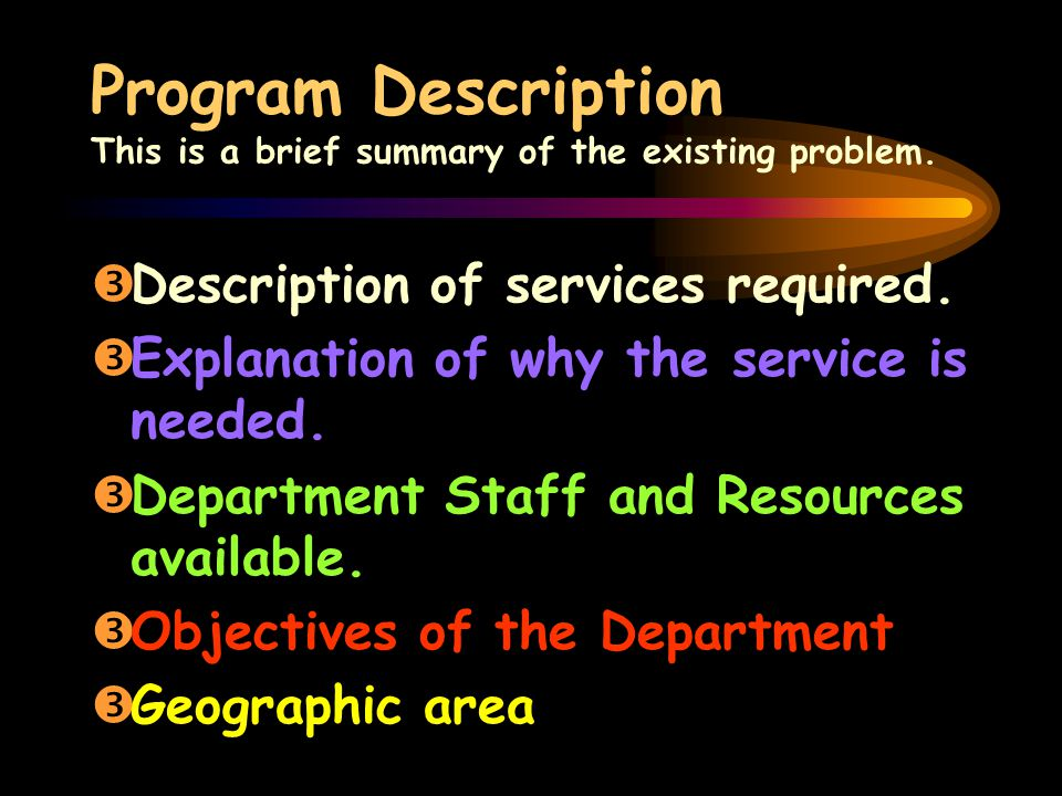 Program Description This is a brief summary of the existing problem.