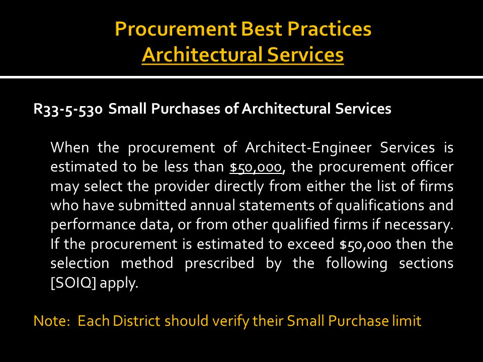 Architect Engineer Selection Process Contractor Selection Process