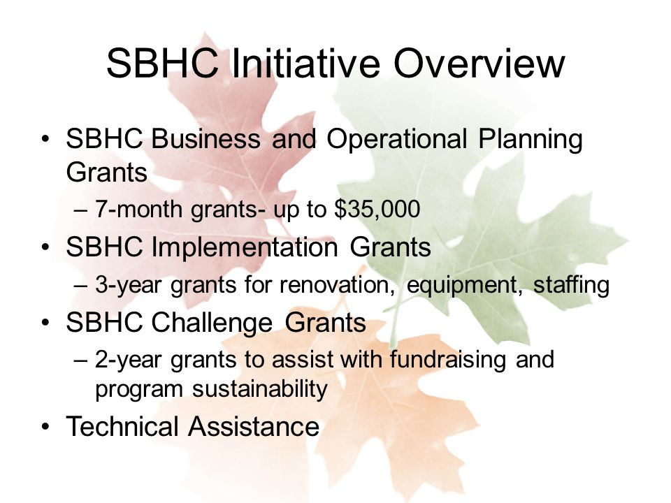 SBHC Initiative Overview SBHC Business and Operational Planning Grants –7-month grants- up to $35,000 SBHC Implementation Grants –3-year grants for renovation, equipment, staffing SBHC Challenge Grants –2-year grants to assist with fundraising and program sustainability Technical Assistance