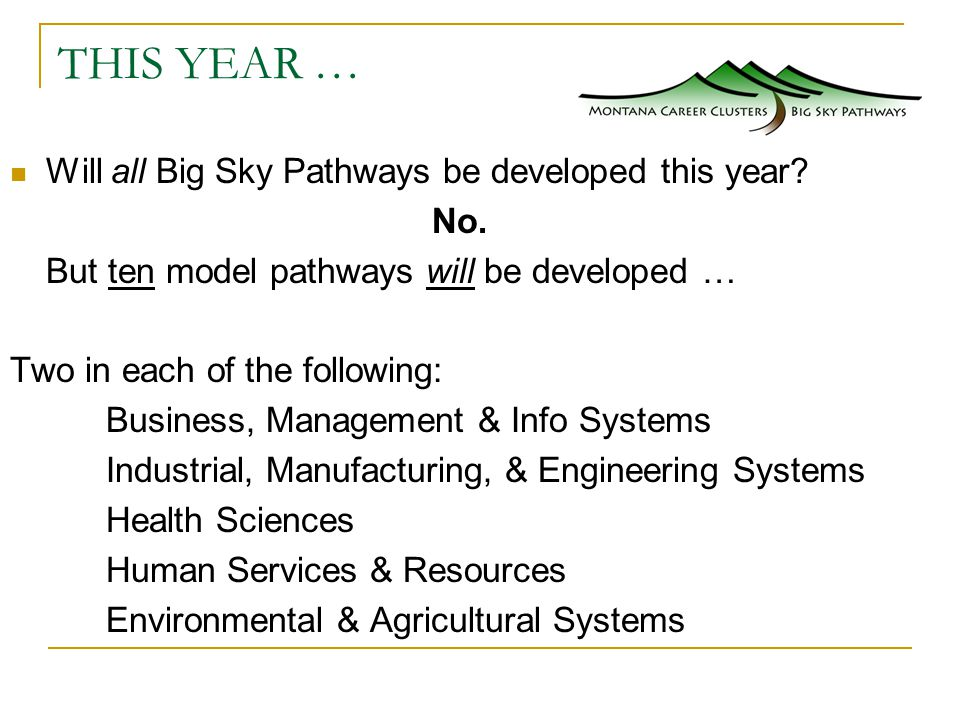 THIS YEAR … Will all Big Sky Pathways be developed this year.