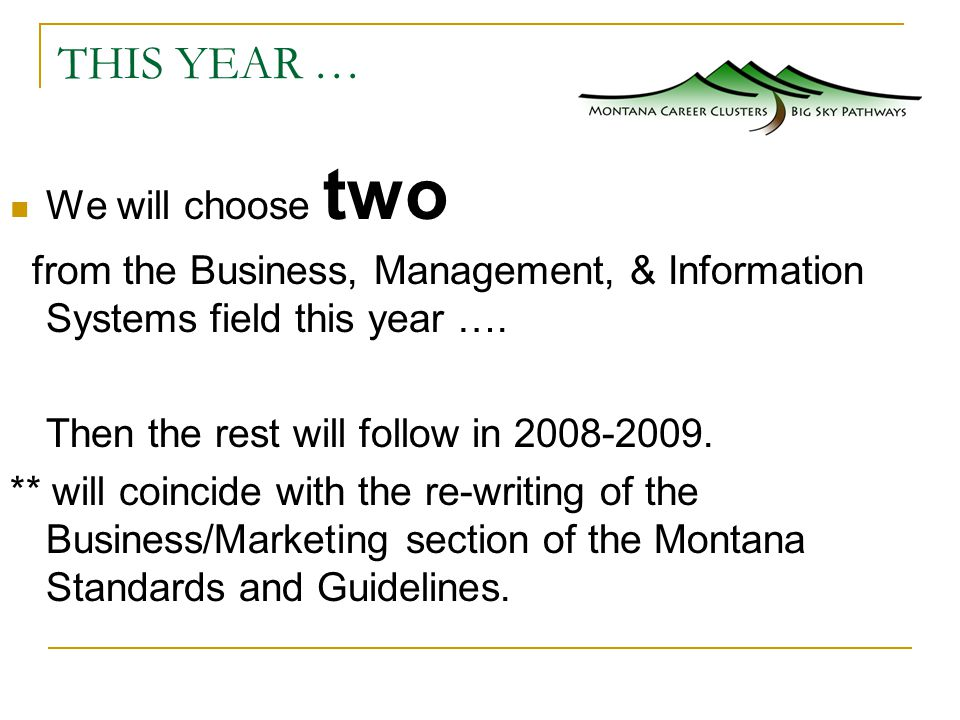 THIS YEAR … We will choose two from the Business, Management, & Information Systems field this year ….
