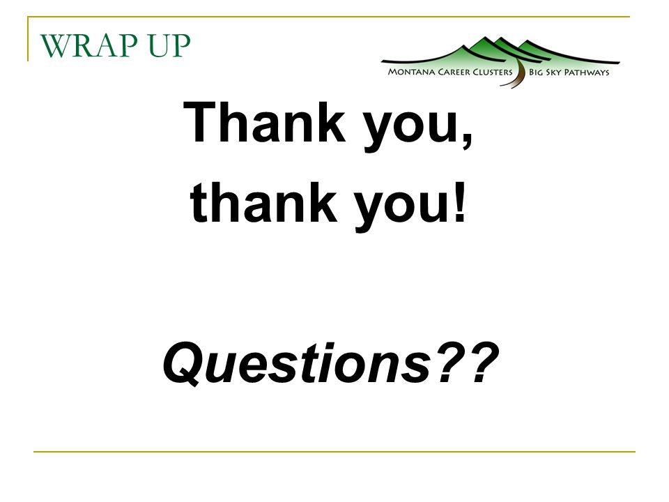 WRAP UP Thank you, thank you! Questions