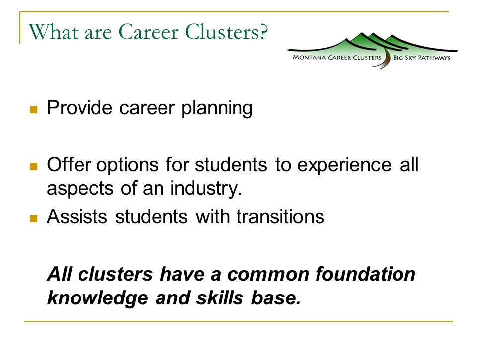 What are Career Clusters.