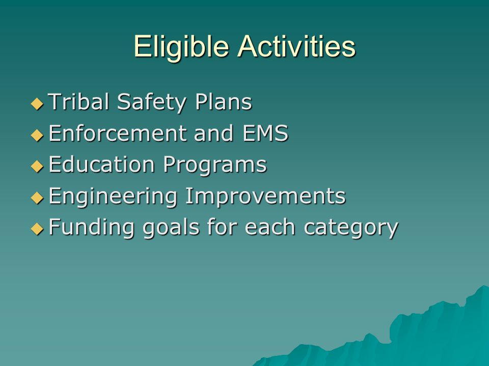 Eligible Activities  Tribal Safety Plans  Enforcement and EMS  Education Programs  Engineering Improvements  Funding goals for each category