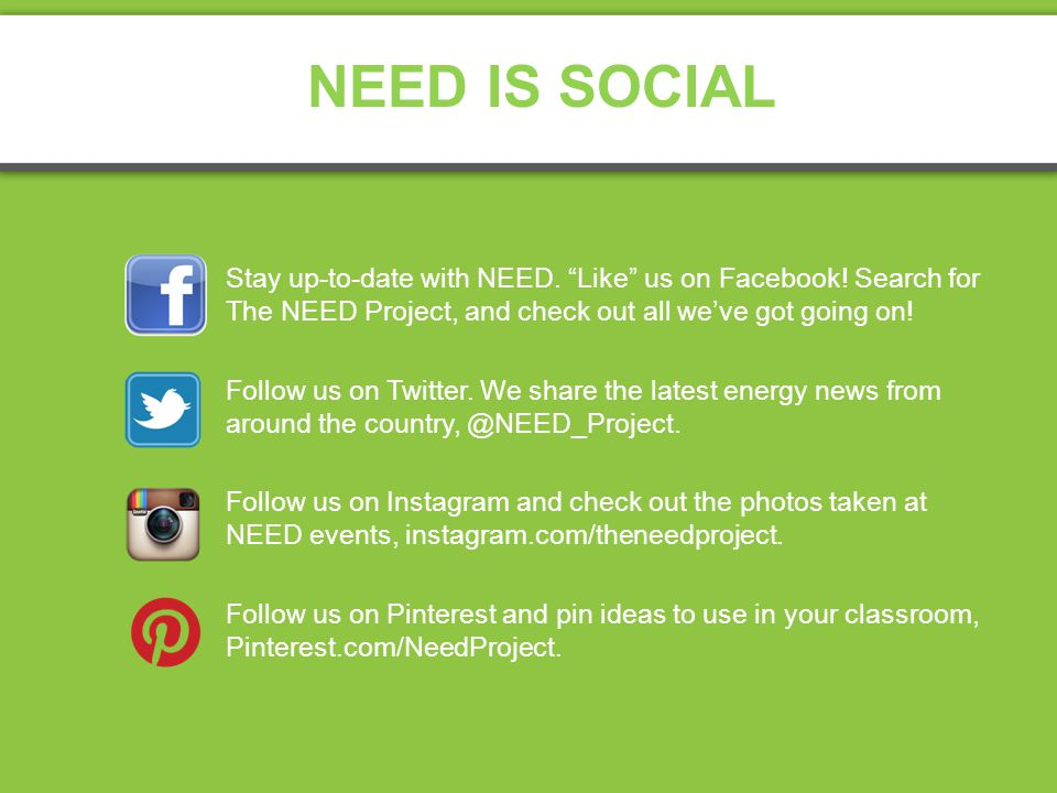 NEED IS SOCIAL Stay up-to-date with NEED. Like us on Facebook.