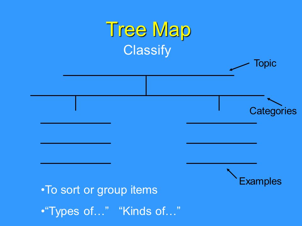 Tree Map Classify To sort or group items Types of… Kinds of… Topic Categories Examples