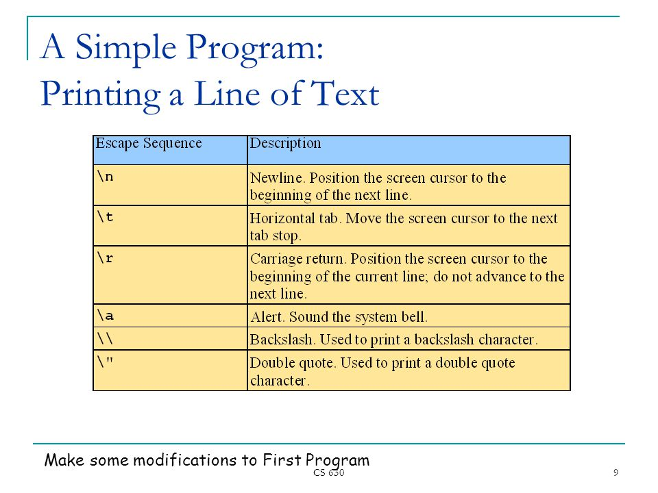CS A Simple Program: Printing a Line of Text Make some modifications to First Program