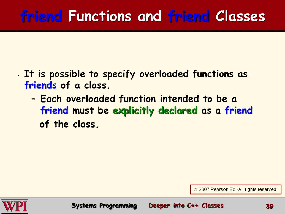  friend  It is possible to specify overloaded functions as friends of a class.