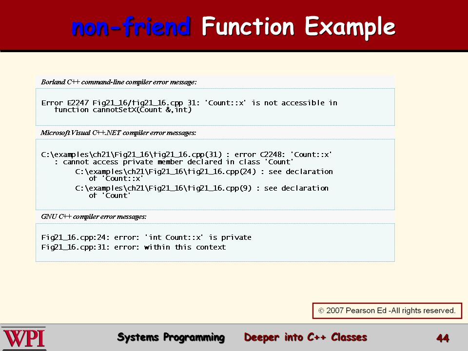 non-friend non-friend Function Example Systems Programming Deeper into C++ Classes 44
