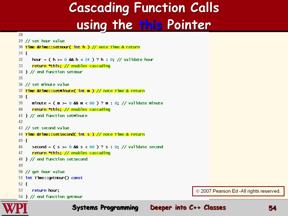 this Cascading Function Calls using the this Pointer Systems Programming Deeper into C++ Classes 54