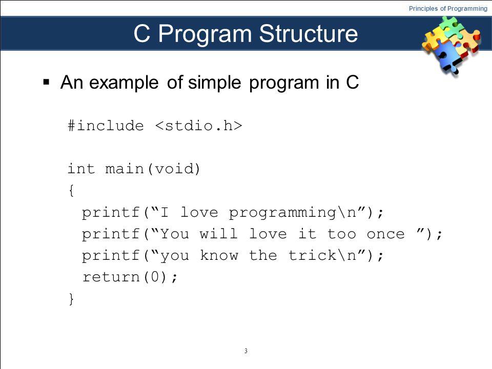principles of programming fundamental of c programming language and
