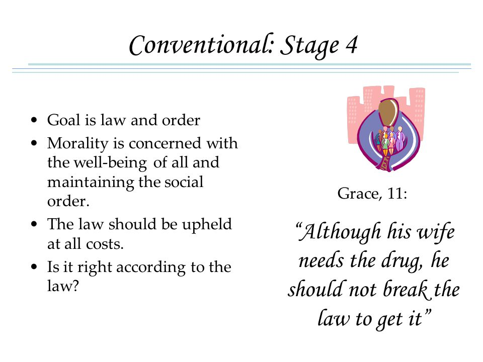 Conventional: Stage 4 Goal is law and order Morality is concerned with the well-being of all and maintaining the social order.