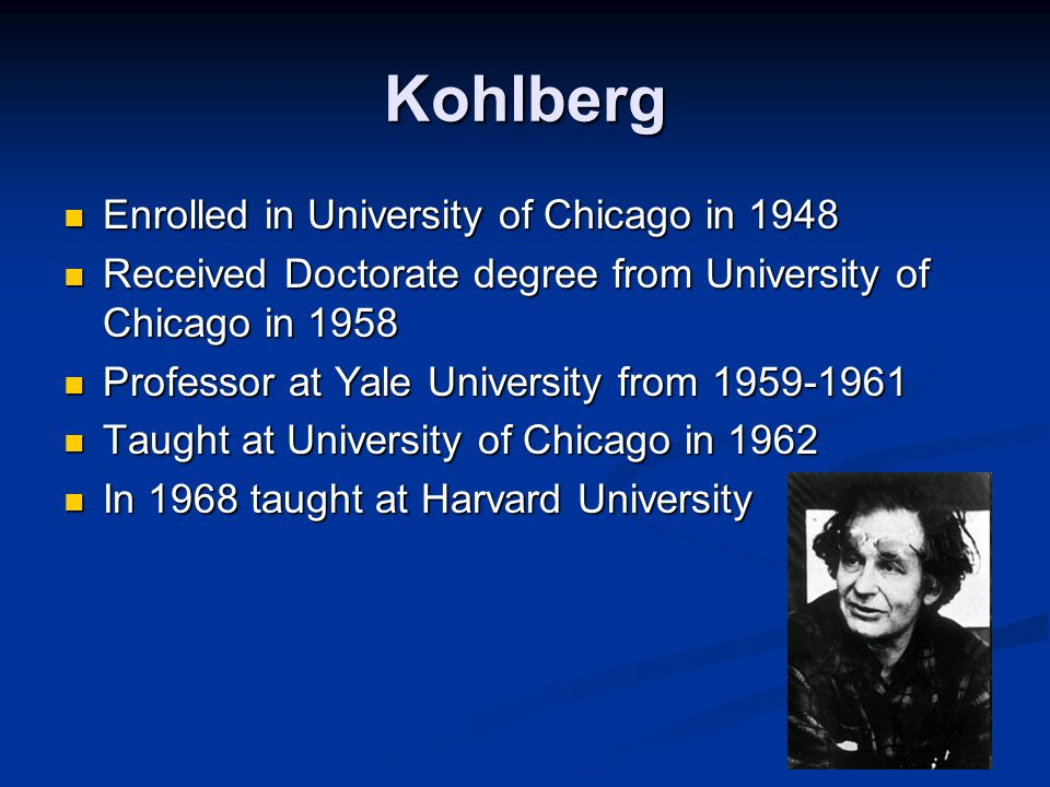 a study of the theory of kohlberg Kohlberg was inspired by piaget who proposed a theory of intel to investigate moral development from the ages of 10-28 75 american boys- at the start of the study they were aged bet.
