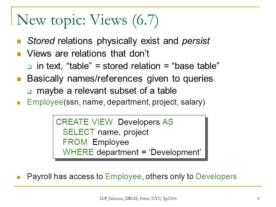 M P  Johnson, DBMS, Stern/NYU, Sp20041 C : Database Management
