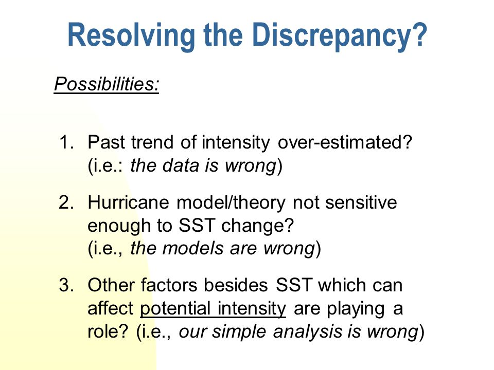 Resolving the Discrepancy. 1.Past trend of intensity over-estimated.