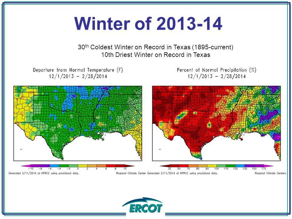 Winter of th Coldest Winter on Record in Texas (1895-current) 10th Driest Winter on Record in Texas