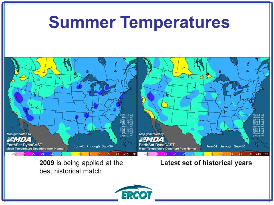 Summer Temperatures 2009 is being applied at the best historical match Latest set of historical years