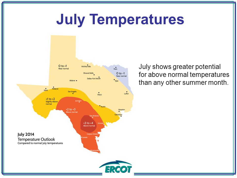 July shows greater potential for above normal temperatures than any other summer month.