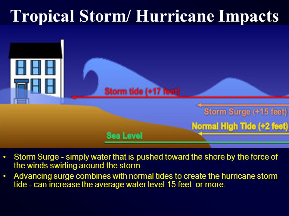 Tropical Storm/ Hurricane Impacts Storm Surge - simply water that is pushed toward the shore by the force of the winds swirling around the storm.